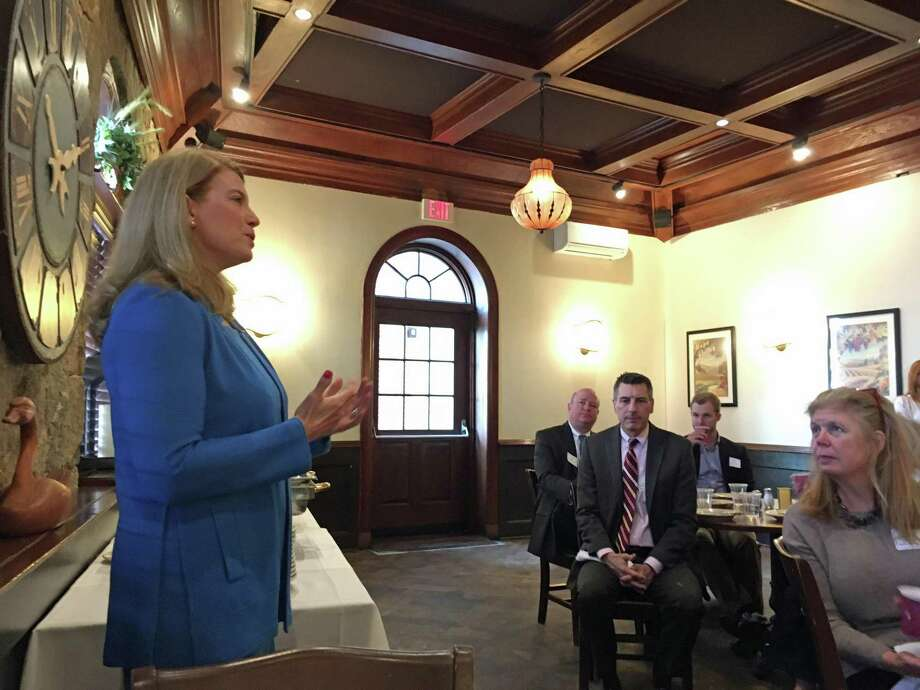 First Selectman Jayme Stevenson at a breakfast hosted by the Darien Chamber of Commerce at The Goose on March 27, 2018. Photo: Humberto J. Rocha / Hearst Connecticut Media / Darien News