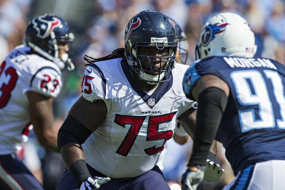 NASHVILLE, TN - OCTOBER 26:  Derek Newton #75 of the Houston Texans blocks during a play against the Tennessee Titans at LP Field on October 26, 2014 in Nashville, Tennessee.  The Texans defeated the Titans 30-16.  (Photo by Wesley Hitt/Getty Images) Photo: Wesley Hitt/Getty Images