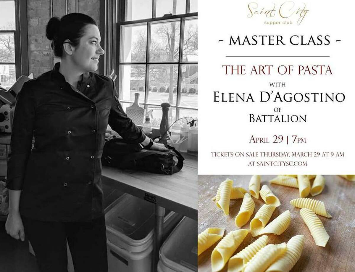 The Saint City Supper Club is conducting a master class in conjunction with the Estate Coffee Co. that will feature Battalion pasta chef Elena D'Agostino. Tickets to the April 29 event will go on sale at 9 a.m. March 29 at saintcity.com.