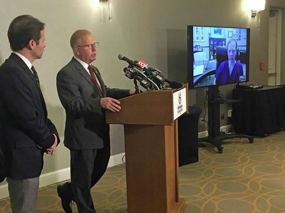 Danbury Mayor Mark Boughton speaks during a press conference on his health on Wednesday, March 28, 2018. Almost two weeks after Boughton, a Republican candidate for governor, collapsed from an apparent seizure at a campaign event, he waved his right to privacy and brought his doctors for the press conference. Photo: /