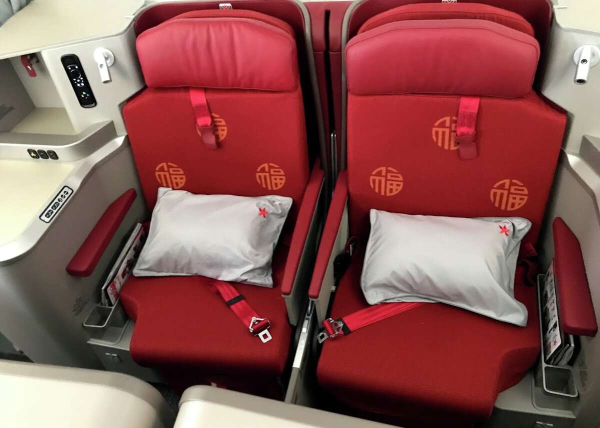 Hong Kong Airlines is pulling out of San Francisco - see its business class seats in center section Airbus A350