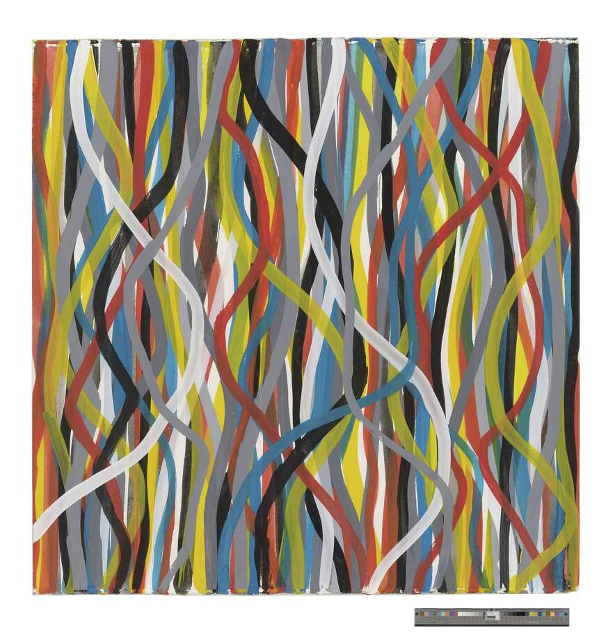 "Sol LeWitt, ""Wavy Brushstrokes."" 1996, Gouache on paper, 22 ½ x 22. Photo: Photo From The LeWitt Collection, Chester"