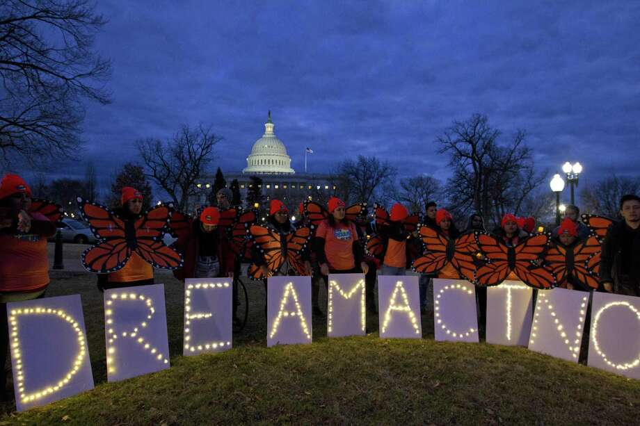 In this photo from January, demonstrators rally in support of Deferred Action for Childhood Arrivals outside the Capitol in Washington. Photo: Jose Luis Magana / Associated Press / FR159526 AP