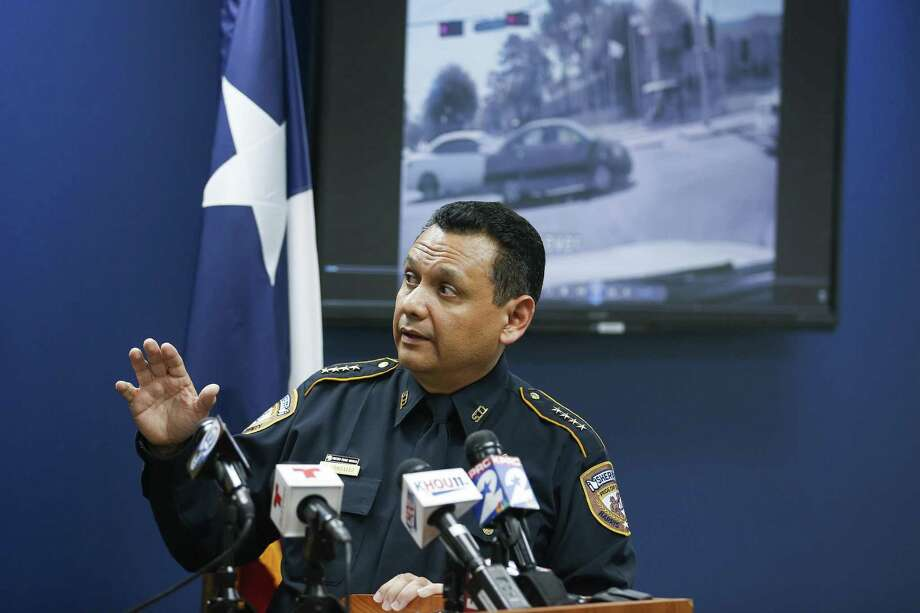 Harris County Sheriff Ed Gonzalez watches dash cam video of the fatal deputy-involved shooting of Danny Ray Thomas during a press conference regarding the shooting Monday, March 26, 2018 in Houston. Photo: Michael Ciaglo, Houston Chronicle / Houston Chronicle / Michael Ciaglo