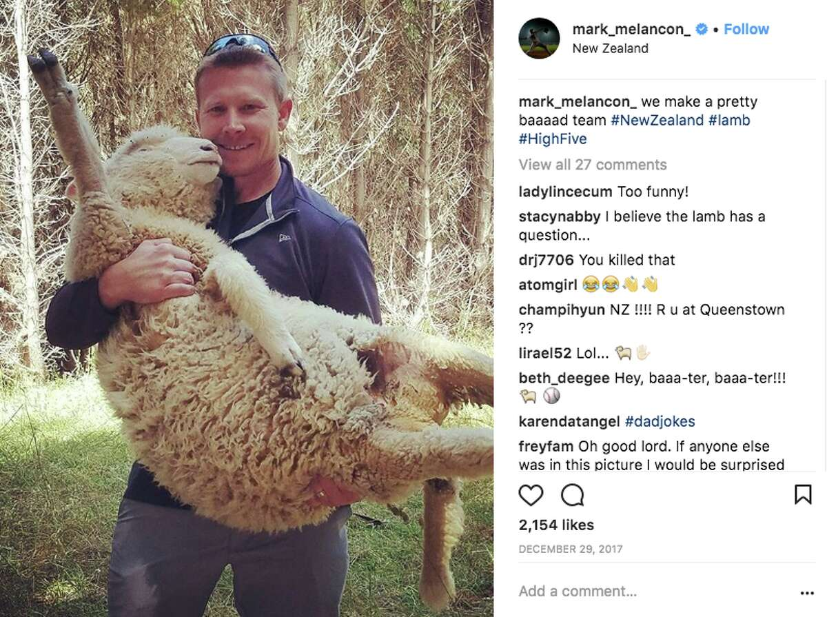 He wasn't the only one making the trek to New Zealand. Mark Melancon also visited - and made friends with a friendly sheep.