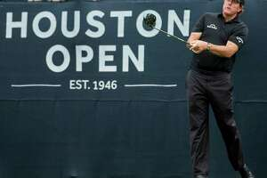 Phil Mickelson tees off on No. 1 during the Houston Open Grand Pro-Am at the Golf Club of Houston on Wednesday, March 28, 2018, in Humble.
