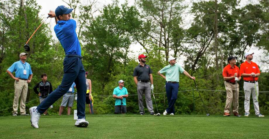 28c229c9d3 Jordan Spieth tees off on No. 10 to start his round during the Houston Open