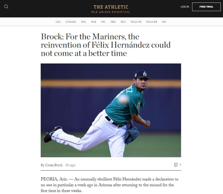 Subscription sports site The Athletic is launching its Seattle site with Mariners coverage. Photo: Screenshot/TheAthletic.com
