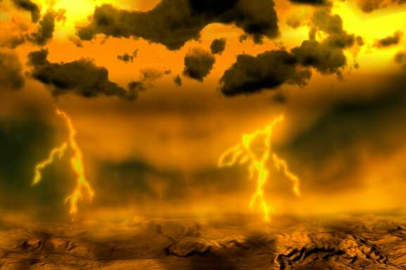 An artist's rendition released by the European Space Agency on Wednesday, Nov. 28, 2007 shows lightning striking the surface of planet Venus. Nearby planet Venus is looking a bit more Earth-like with frequent bursts of lightning confirmed by a new European space probe. For nearly three decades, astronomers have said Venus probably had lightning, ever since a 1978 NASA probe showed signs of electrical activity in its atmosphere. But experts were not sure because of signal interference. (AP Photo/ESA/HO) ** MAGAZINES OUT - NO SALES **