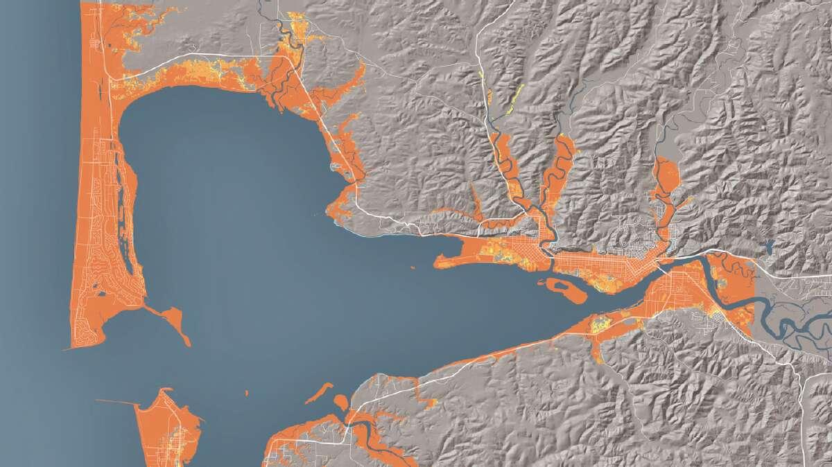 Maps from the Washington Geological Survey's modeling of how a tsunami following a 9.0 earthquake would affect the coast of Washington.