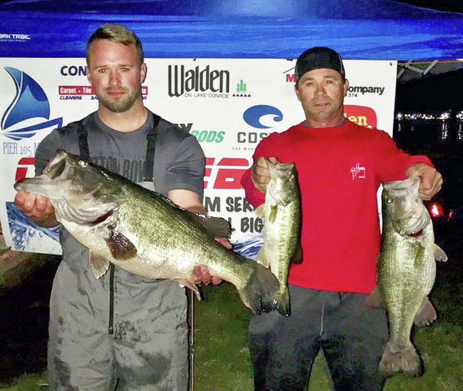 Scott and Cody Young won the CONROEBASS Tuesday Tournament with a stringer total weight of 20.08 pounds. Photo: Conroe Bass