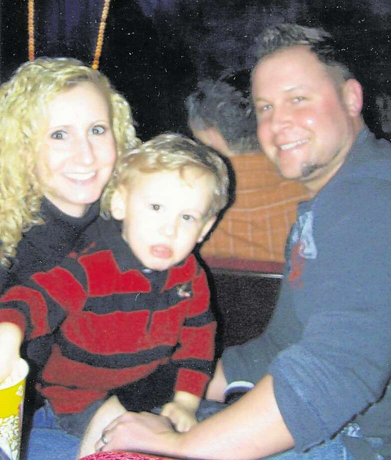 Heather and James Deere with James J. Deere, 3, during happier times. The Clifton Park boy is recovering from septic shock. (Courtesy Deere family)