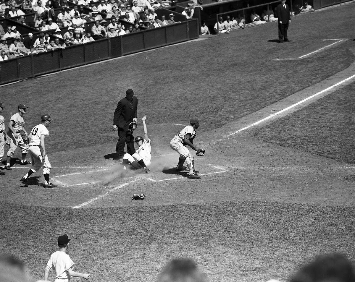 The Giants opening game against the Dodgers on April 15, 1958.