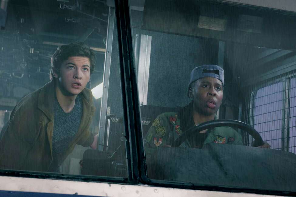 This image released by Warner Bros. Pictures shows Tye Sheridan, left, and Lena Waithe in a scene from