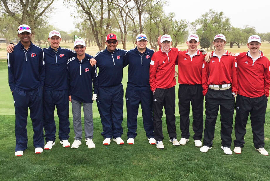 The Plainview boys' golf team shot a 336, their second-best round of the season, in the opening round of the District 3-5A campaign at the Plainview Country Club Tuesday. They are in fourth place with two rounds remaining. Team members are, from left, varsity players Ryan Jackson, Peyton McNutt, Hayden Ennis, Dylan Resendez and Zach McDonough, and junior varsity players Cole Martin, Max Farr, Peyton Straley and Kelton Offield. Photo: Courtesy Photo
