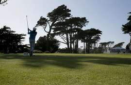 Rory McIlroy hits his tee shot on the 13th tee and went on to beat Jason Dufner 5&4 during the first round of the 2015 the PGA World Golf Match Play Championship at Harding Park in San Francisco, Calif., on Wed. April 29, 2015.