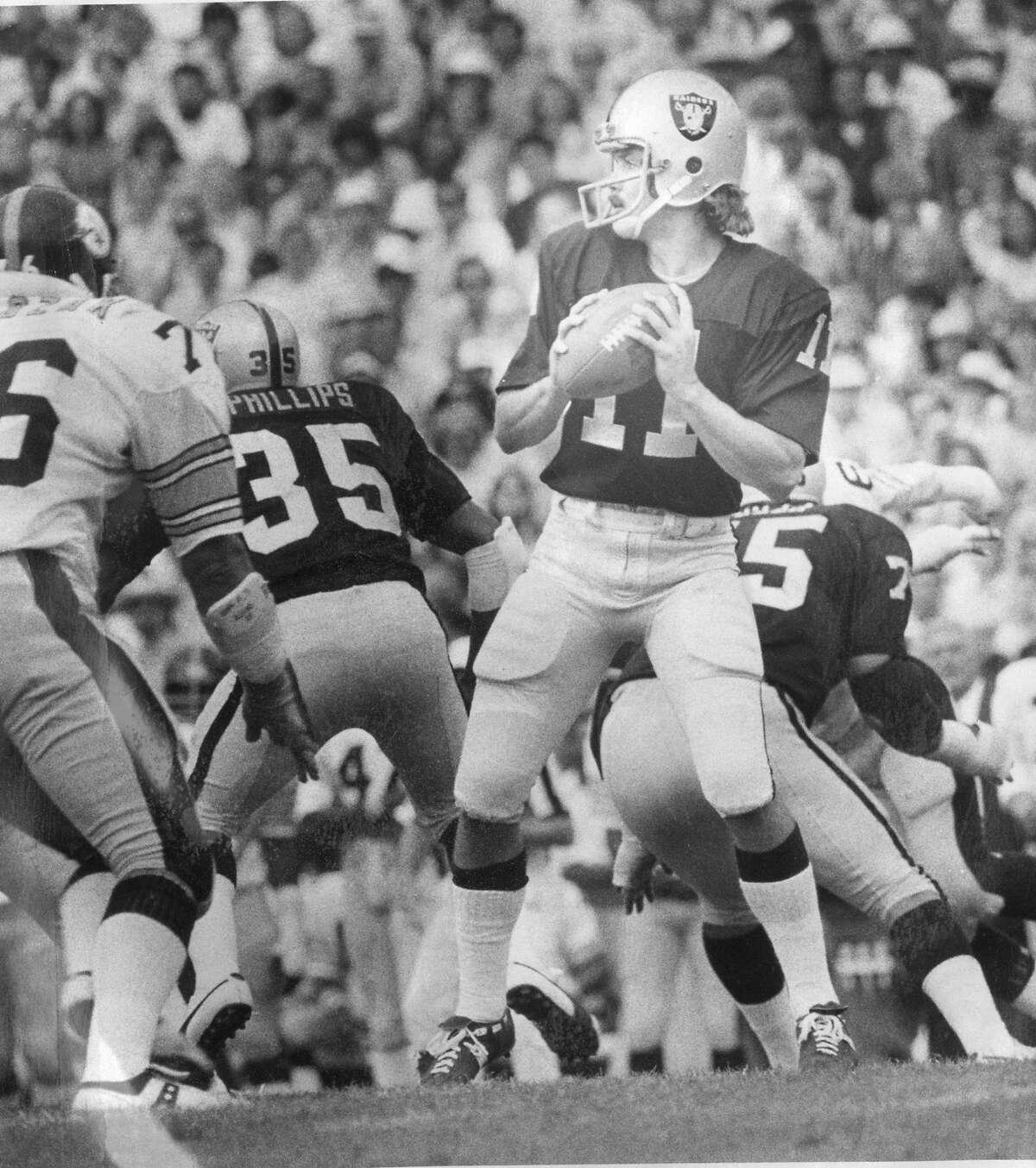 David Humm backup quarterback for the Oakland Raiders, Photo ran 08/18/1975, p. 43