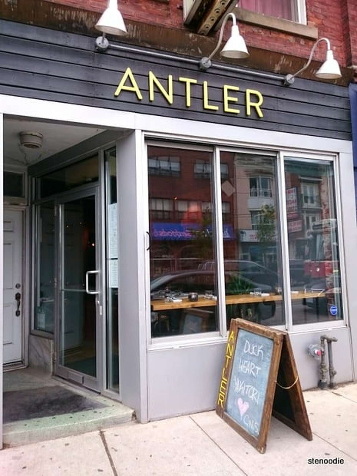 Yelp photos show Toronto Antler Kitchen & Bar. The game-focused restaurant was the site of a recent protest during which co-owner and head chef Michael Hunter butchered a deer leg in front of vegan activists.