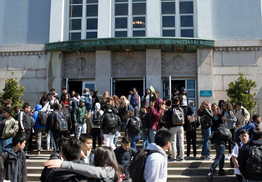 Washington High School students leave the school Thursday afternoon March 22, 2018 at the end of the day in San Francisco, Calif.  After a student at Washington High School  received straight Fs for all four years, there are questions about why he was permitted to fail for so long. Photo: Brian Feulner / Brian Feulner, Special To The Chronicle