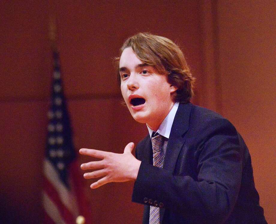 Brunswick School student Luke Hayes performs during the 34th annual Shakespeare Competition at Greenwich Library's Cole Auditorium Wednesday. Photo: Bob Luckey Jr. / Hearst Connecticut Media / Greenwich Time