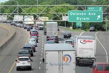 Traffic congestion on I-95 northbound near exit 2 in Greenwich, Conn., Thursday, June 29, 2017. Department of Transportation Commissioner James Redeker was in Greenwich this week to discuss transportation issues.