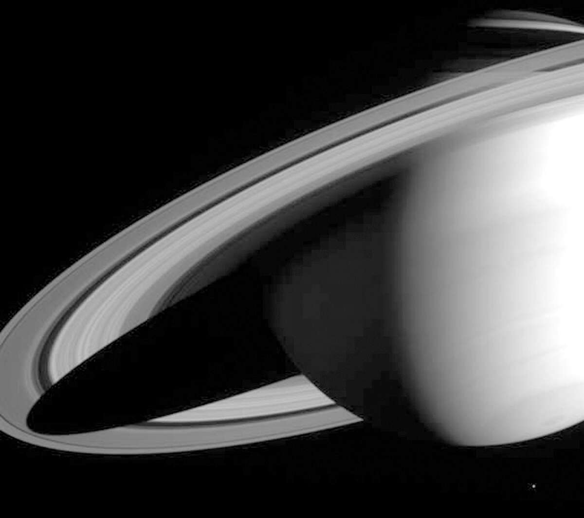 The Cassini-Huygens spacecraft returned this image of Saturn on May 16, 2004, when its imaging science subsystem narrow-angle camera was too close to fit the entire planet in its field-of-view.