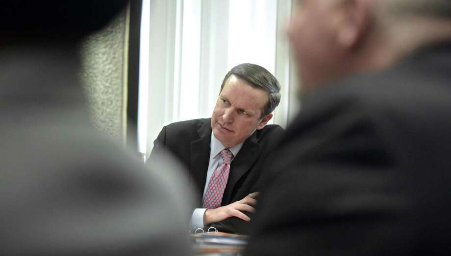 U.S. Senator Chris Murphy hosted an opioid crisis roundtable in Danbury on Wednesday afternoon. Murphy discussed the $3 billion in emergency overdose funding in the spending bill signed last week and a bipartisan bill he introduced to provide for more recovery coaches, such as those used at Danbury Hospital. March 28, 2019, in City Hall, Danbury, Conn. Photo: H John Voorhees III / Hearst Connecticut Media / The News-Times