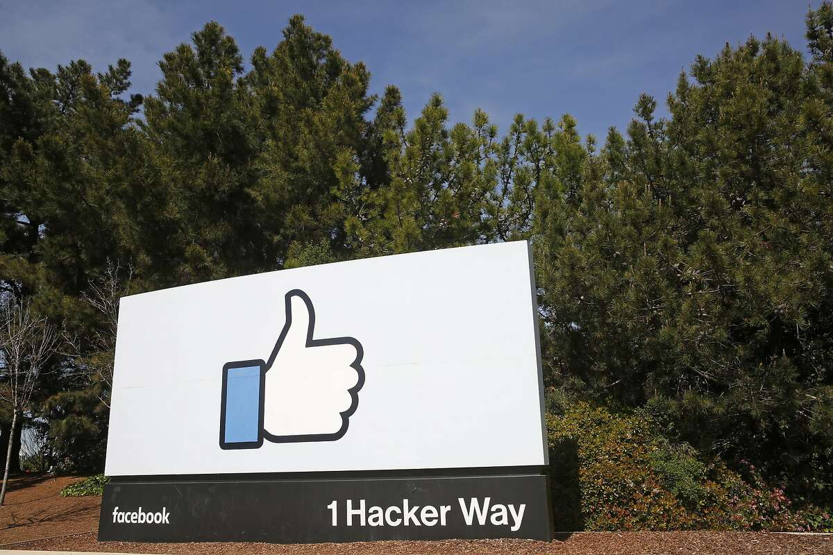 The famous Facebook sign in front of their headquarters at 1 Hacker way in Menlo Park.