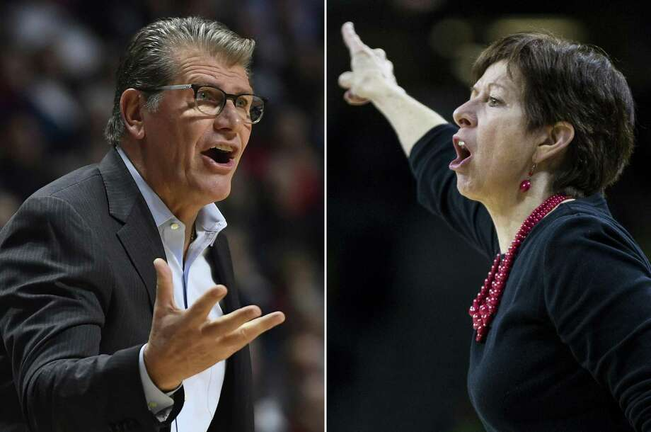 At left, in a Dec. 19, UConn coach Geno Auriemma gestures during a game against Oklahoma in Uncasville,. At right, in a Jan. 14 file photo, Notre Dame coach Muffet McGraw yells to players during the second half of a game against Boston College in South Bend, Ind. Photo: / Associated Press / AP