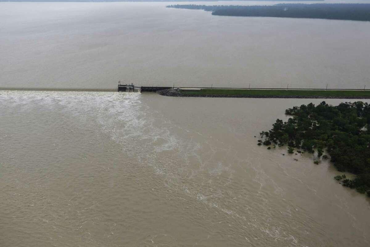 The spillway of Lake Houston overflows from Tropical Storm Harvey on Tuesday, Aug. 29, 2017, in Houston. ( Brett Coomer / Houston Chronicle )