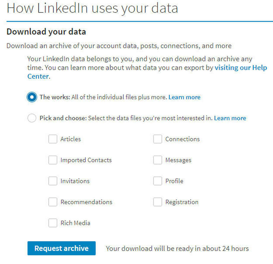 LinkedIn's data download page. Photo: Chronicle Screenshot