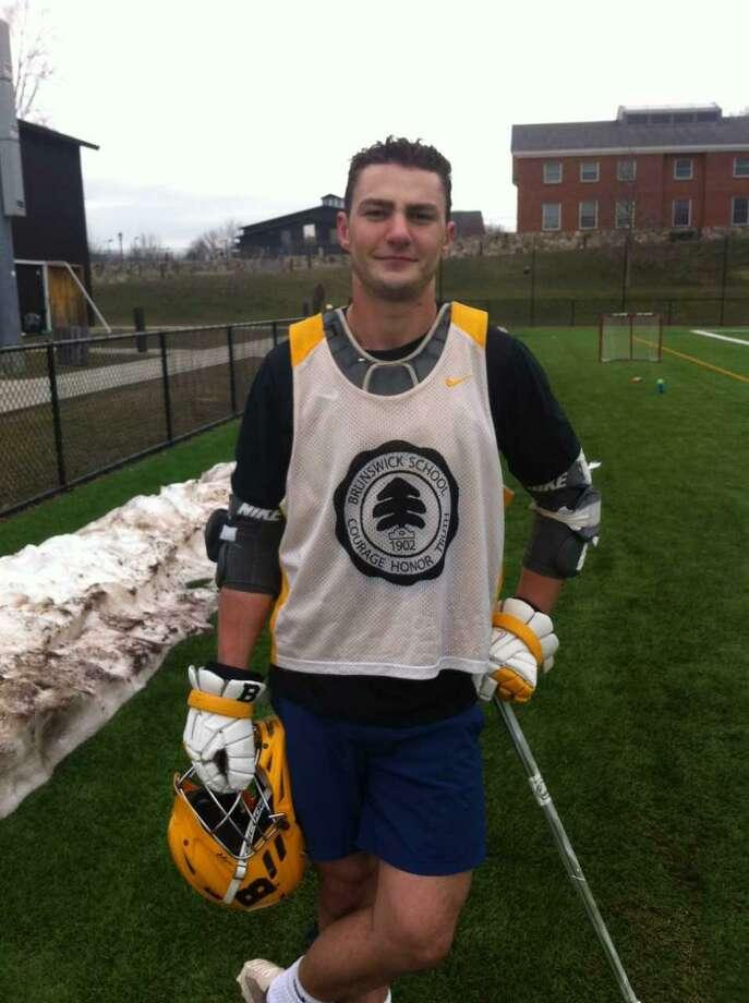 Jack Ocken is a senior captain on the Brunswick School lacrosse team. Photo: David Fierro / Hearst Connecticut Media