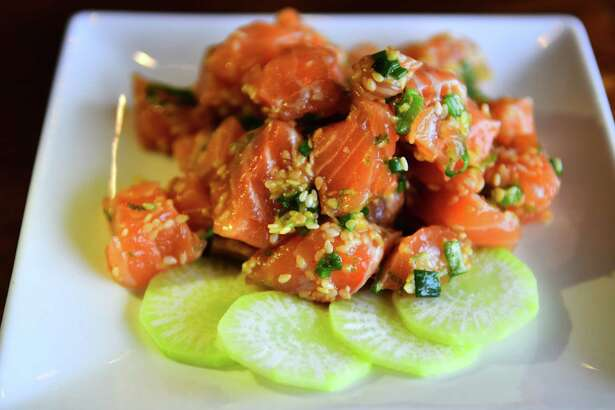 Ginger-lime salmon poke from Fin — Your Fishmonger in Guilderland. (Photo by Steve Barnes/Times Union.)