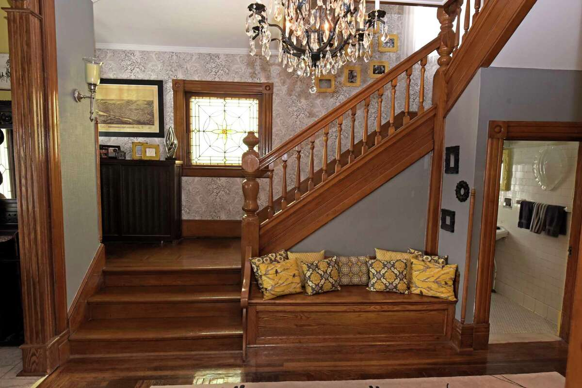 A view of the stairs leading to the second floor at the home located at 245 Guy Park on Tuesday, Feb. 20, 2018, in Amsterdam, N.Y. (Paul Buckowski/Times Union)