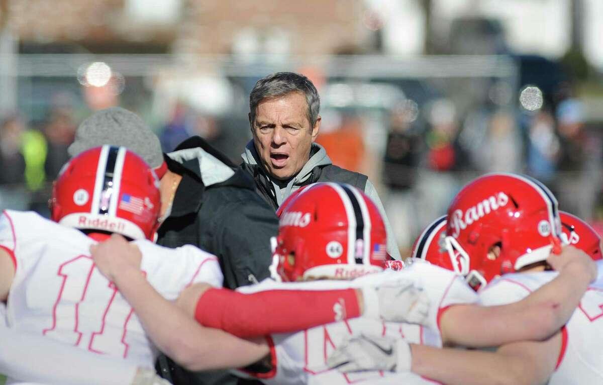 New Canaan High School football coach Lou Marinelli during the 2017 Turkey Bowl high school football game between Darien High School and New Canaan High School at Boyle Stadium in Stamford, Conn., Thursday, Nov. 23, 2017.