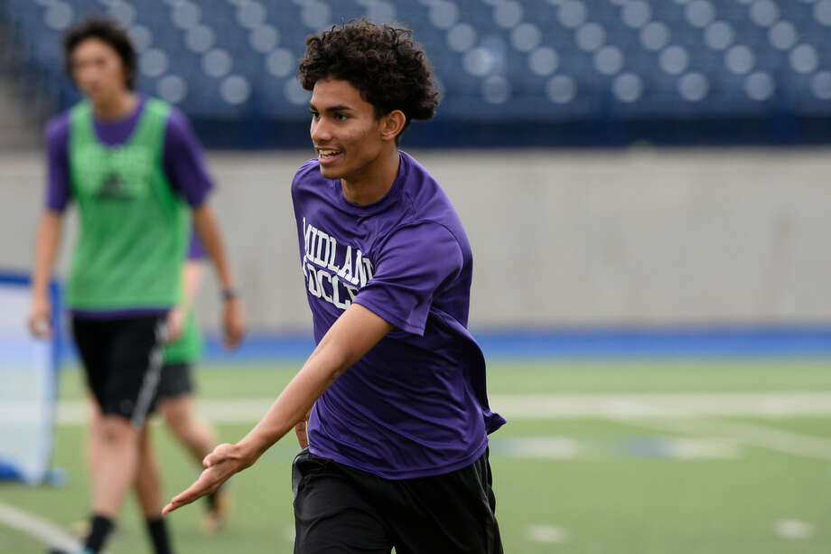 Midland High's Daniel Olivas photographed during team practice March 27, 2018, at Grande Communications Stadium. James Durbin/Reporter-Telegram