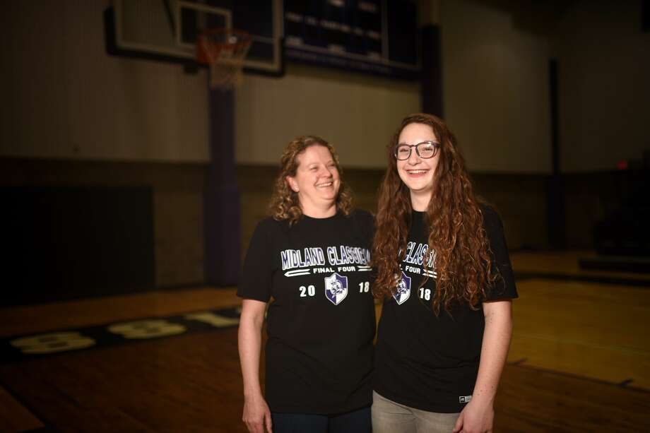 Midland Classical coach Carla Cunneen and point guard Leia Beattie in portrait March 28, 2018, at MCA.  James Durbin/Reporter-Telegram Photo: James Durbin