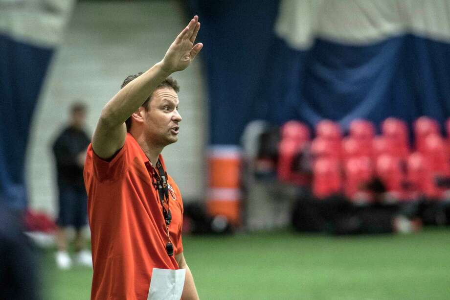 Head Coach Rob Keefe barks out orders during the training camp for the inaugural season of the Albany Empire Arena Football Team Wednesday March 28, 2018 at Afrim's Sports in Latham, N.Y.  (Skip Dickstein/Times Union) Photo: SKIP DICKSTEIN / 20043338A