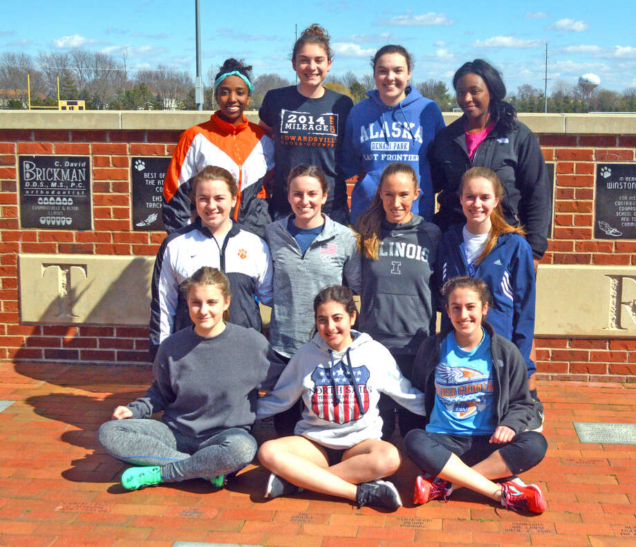 Seniors on the Edwardsville girls' track and field team are, front row left to right, Ligita Ahele, Paola Minerva and Katelyn Singh. In the middle row, from left to right, are Haley Sparks, Lorie Cashdollar, Melissa Spencer and Kennison Adams. In the back row, from left to right, are Sheyenne Daughrity, Haley Allard, Alyssa Johnson and Natori Hodges. Natalee Woolf, Dahlia Nelson and Uranbaigali Bayarjargal are not pictured.