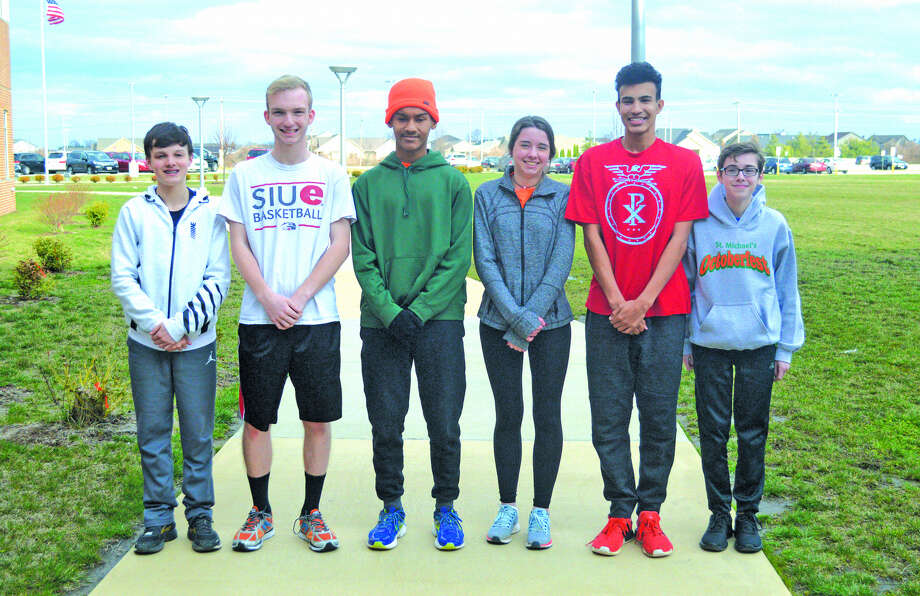 Father McGivney cross country runners competing this spring for the new FMCHS track and field program include, from left to right, Tanner Fox, Zach Brasel, Tyler Guthrie, Mira McAtee, Elijah Burns and Brandon Ahring. Diego Pacheco is not pictured.