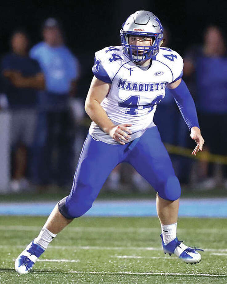 Marquette senior Will Hurst, an Illinois Wesleyan recruit, overcame a mid-season knee injury and helped lead the Explorers to the IHSA playoffs. Photo: Billy Hurst | For The Telegraph