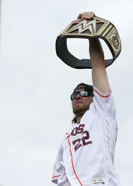 Astros outfielder and pro wrestling enthusiast Josh Reddick has several months to ponder the next parade proclamation he belts out. Photo: Godofredo A. Vasquez, Houston Chronicle / Houston Chronicle / Godofredo A. Vasquez