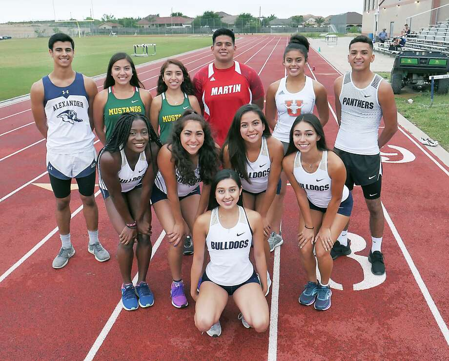 Local high school athletes who will be competing at the Texas Relays in Austin this week are, front row, Cynthia Emeremnu, Krysta Villarreal, Victoria Sandoval, Liliana Perez and Avery Puig. Back row, Carlos Huerta, Veronica Garcia, Alexa Rodriguez, Sergio A. Tijerina, Sadey Rodriguez and Anthony Charles. Photo: Cuate Santos / Laredo Morning Times / Laredo Morning Times