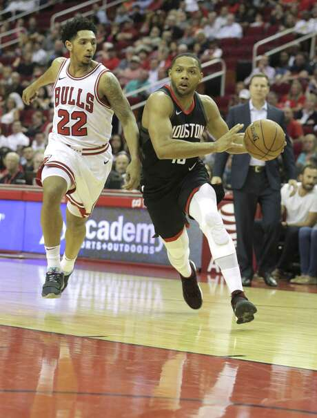 The Rockets' Eric Gordon was a driving force against Cameron Payne and the Bulls on Tuesday night with a game-high 31 points Photo: Elizabeth Conley, Chronicle / Houston Chronicle / © 2018 Houston Chronicle