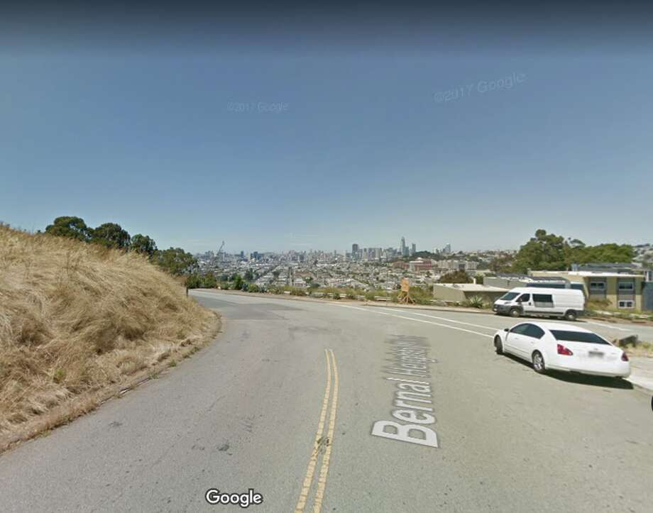A woman was struck by a hit-and-run driver in Bernal Heights on Wednesday, March 28, 2018. The collision occurred on Bernal Heights Boulevard near Folsom Street in San Francisco. Photo: Google Maps, Screengrab