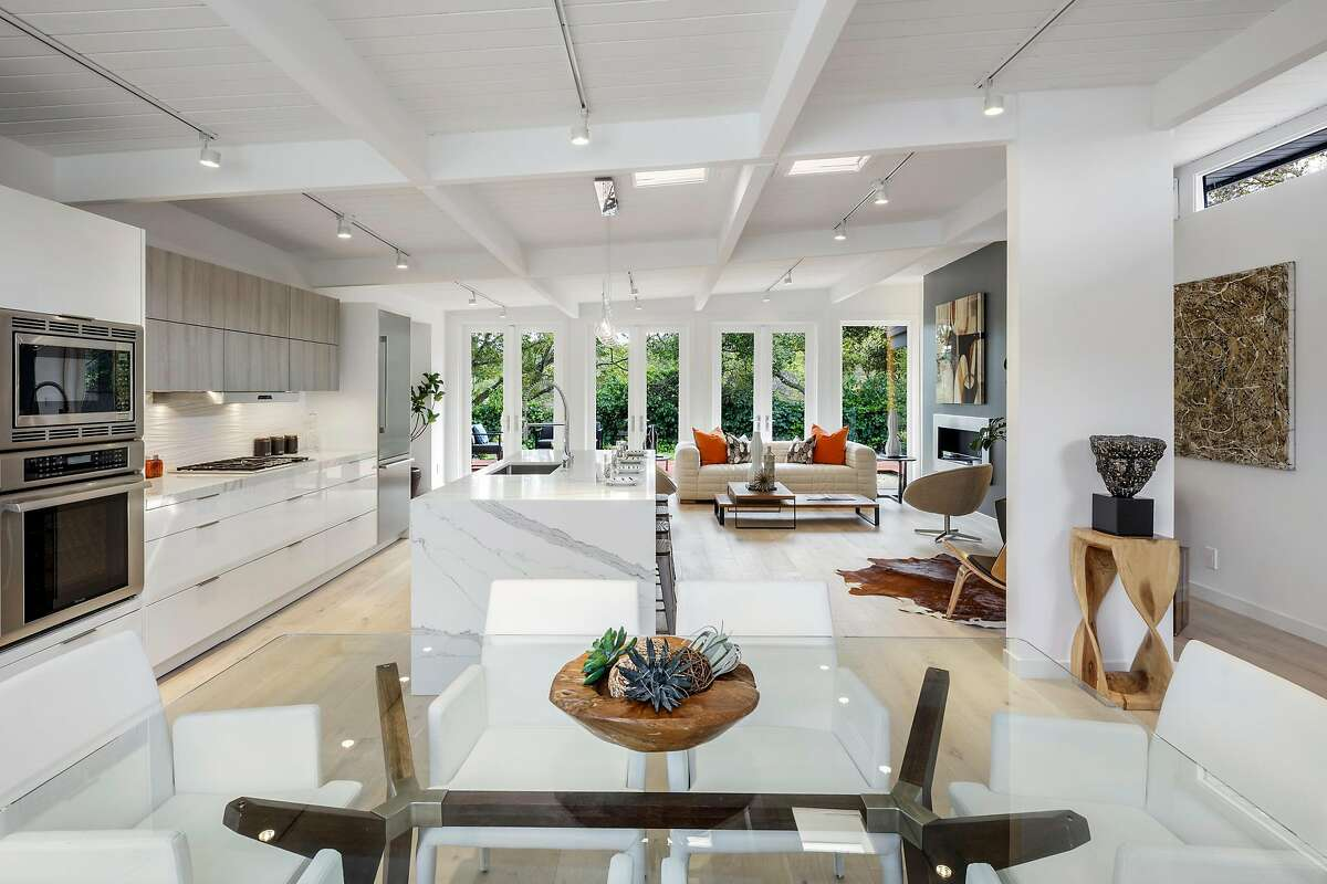 A pair of skylights brighten the great room.