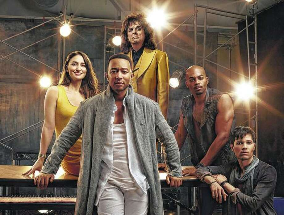 """John Legend (clockwise from foreground center) as Jesus Christ, Sara Bareilles as Mary Magdalene, Alice Cooper as King Herod, Brandon Victor Dixon as Judas Iscariot and Jason Tam as Peter will star Sunday in the NBC production """"Jesus Christ Superstar Live In Concert"""". Photo: James Dimmock 