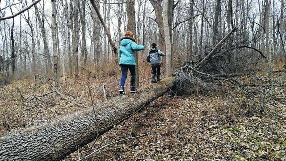 The grandchildren of Nancy Stocker begin spring break with a trek through the timber.