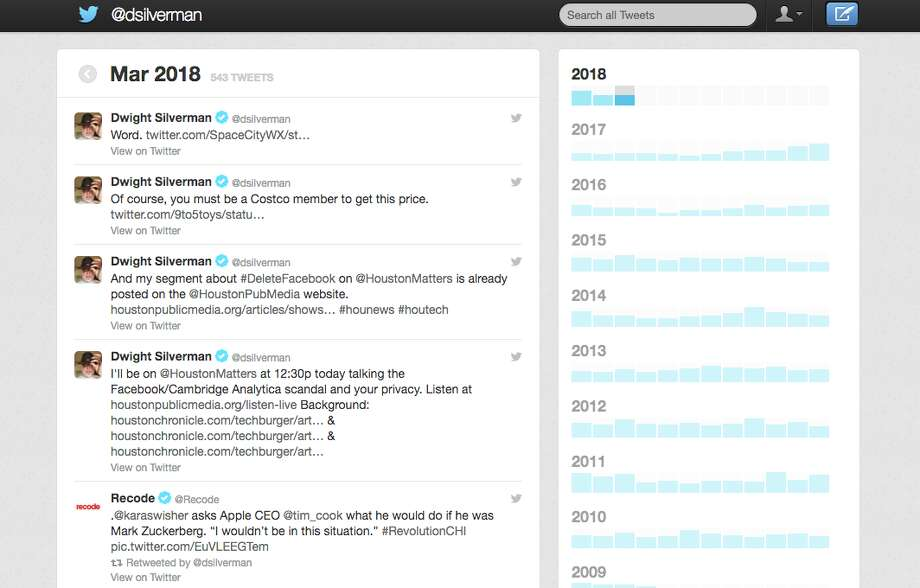 Twitter's archive is easy to read - it looks like a simplified Twitter web page. Photo: Chronicle Screenshot