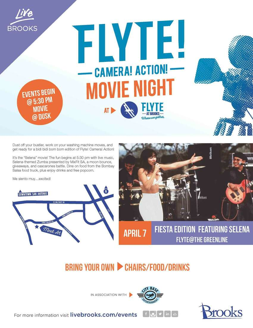 April 7:Flyte! Camera! Action! Movie Night, Fiesta Edition Feat. Selena The Greenline - 2532 Sidney Brooks 5:30 p.m. The night starts with live music and Selena-inspired Zumba, but also includes food trucks, giveaways, a cascarone battle and the Selena movie, of course.